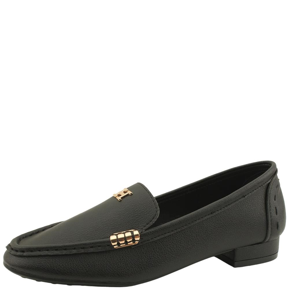 Cowhide Gold Stitch Flat Loafers Black