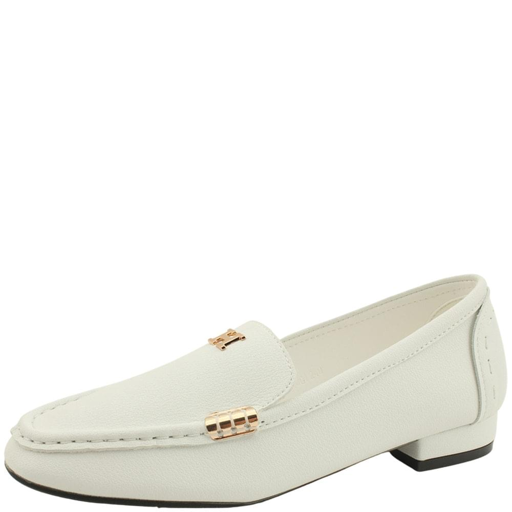 Cowhide Gold Stitch Flat Loafers White