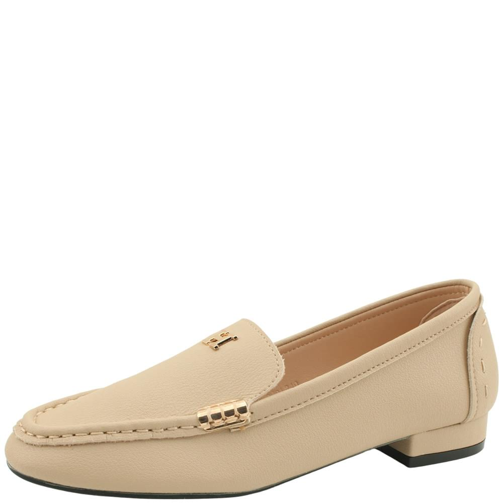 Cowhide Gold Stitch Flat Loafers Beige