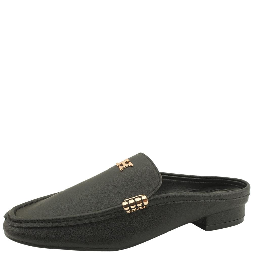 Cowhide Gold Stitch Mule Blocker Black
