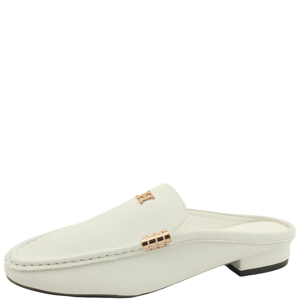 Cowhide Gold Stitch Mule Blower White