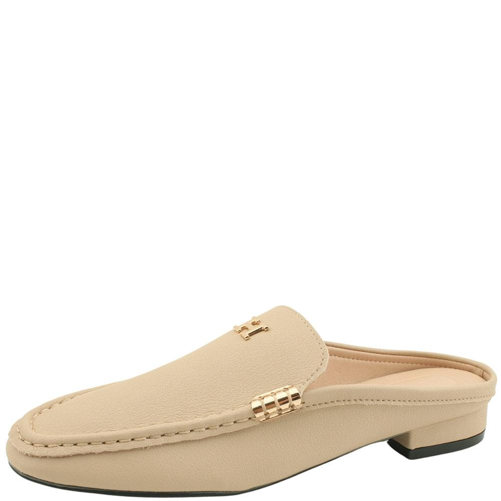 Cowhide Gold Stitch Mule Blocker Beige