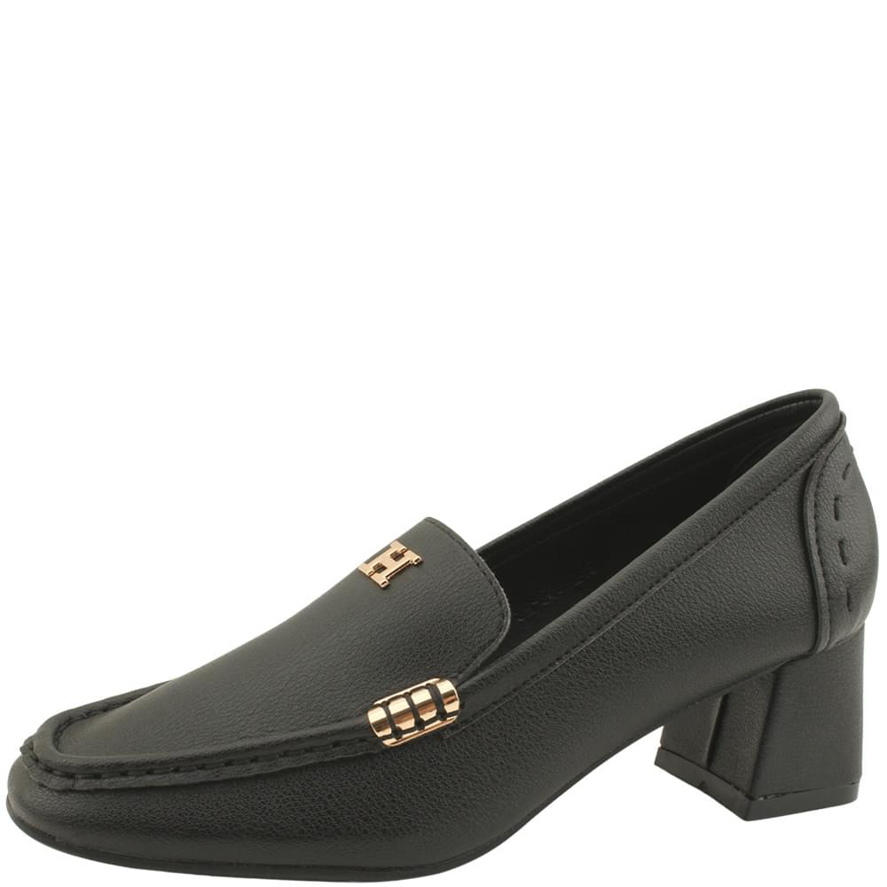 Cowhide Gold Metal Middle Heel Loafers Black