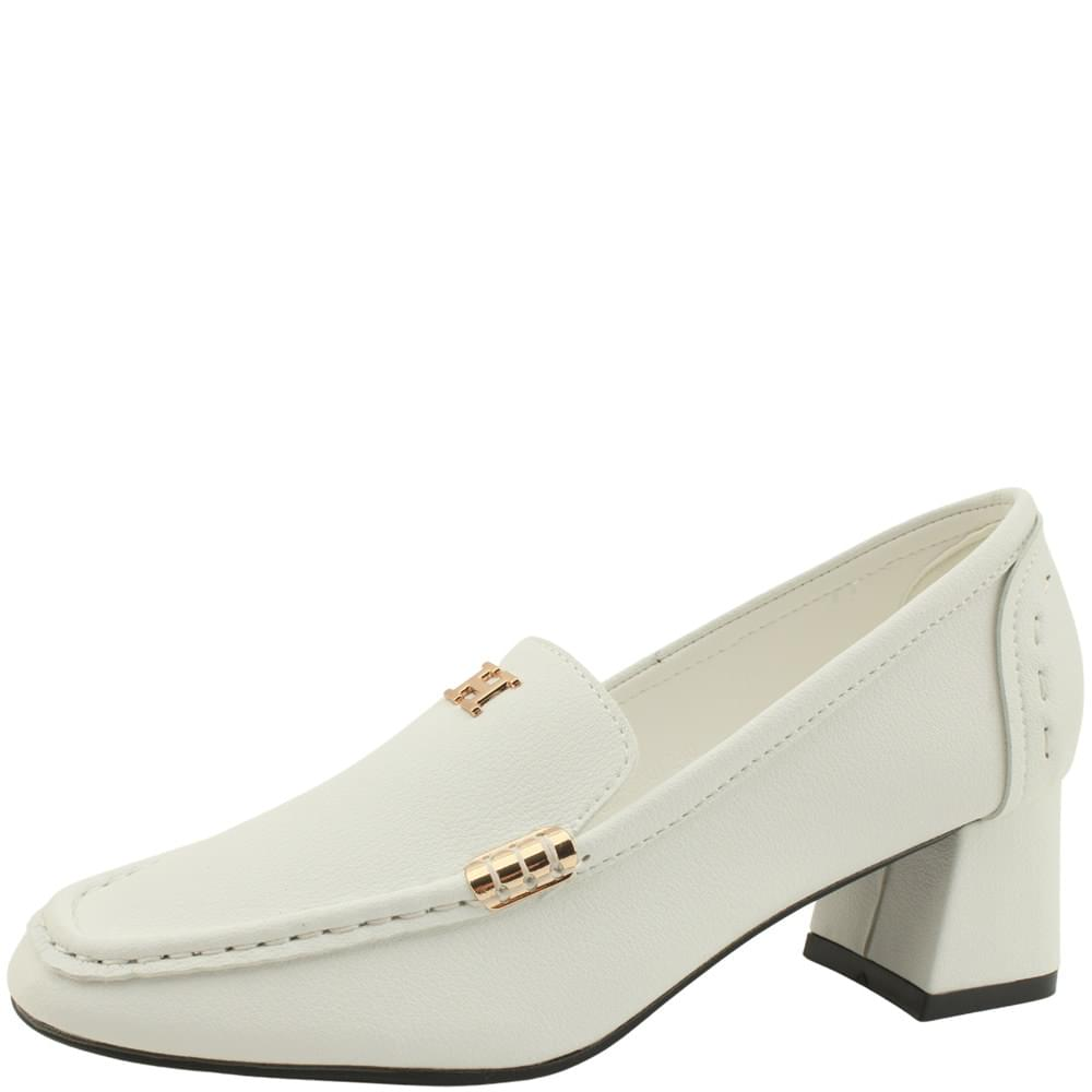 Cowhide Gold Metal Middle Heel Loafers White