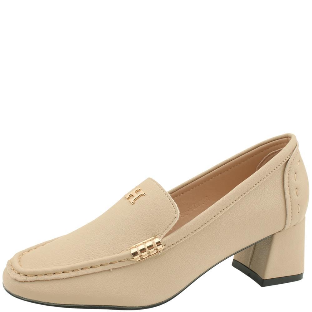 Cowhide Gold Metal Middle Heel Loafers Beige