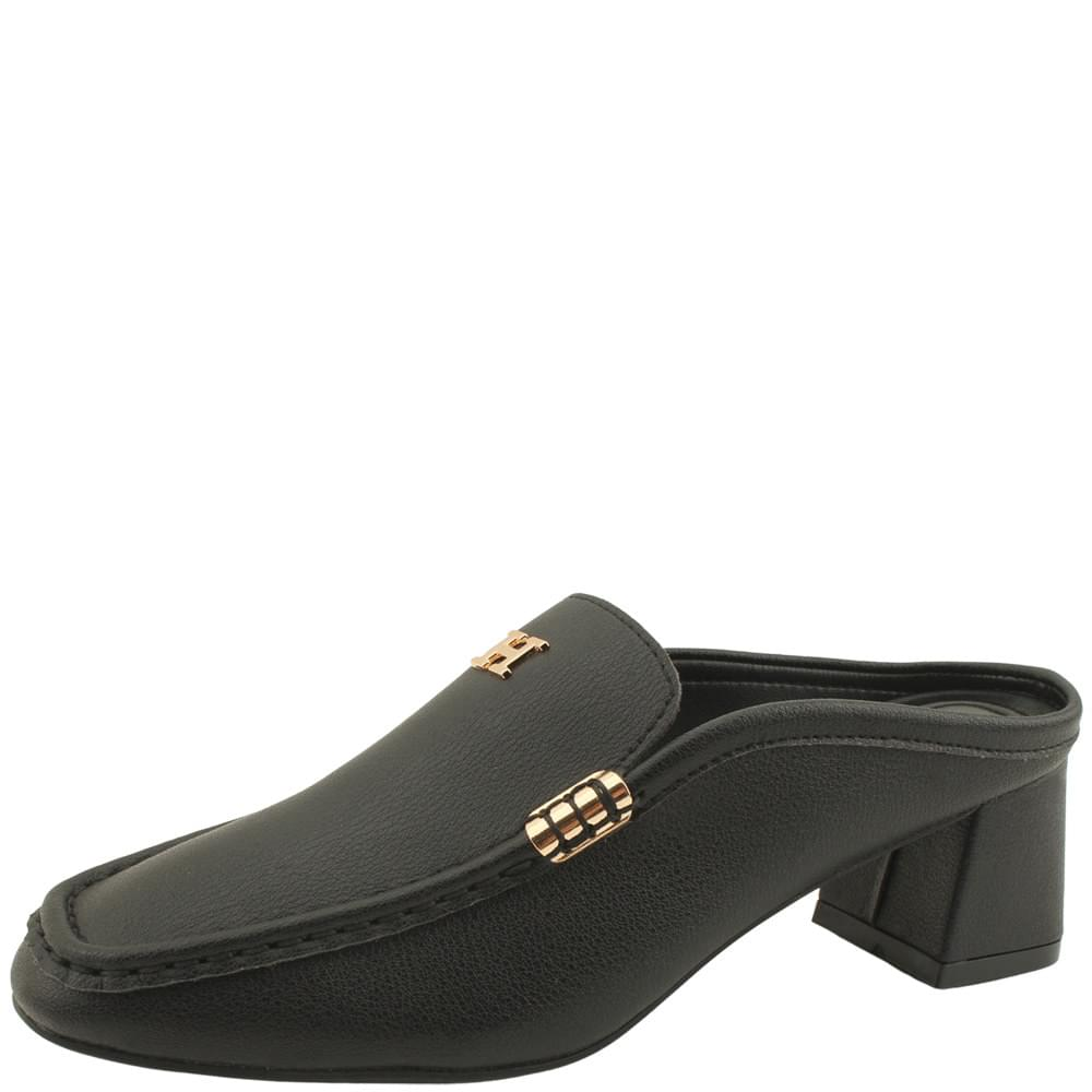 Cowhide Gold Plated Middle Heel Mule Blocker Black