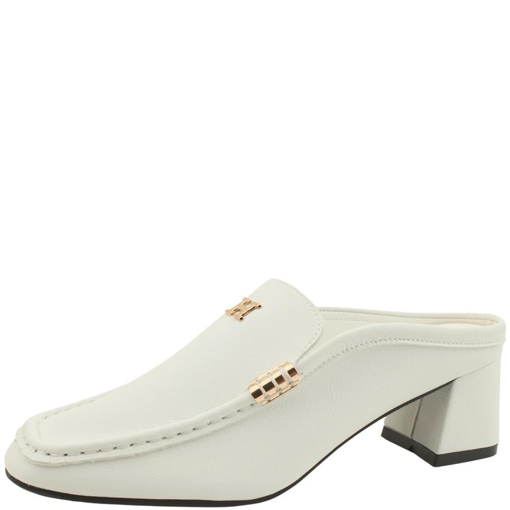 Cowhide Gold Plated Middle Heel Mule Blocker White