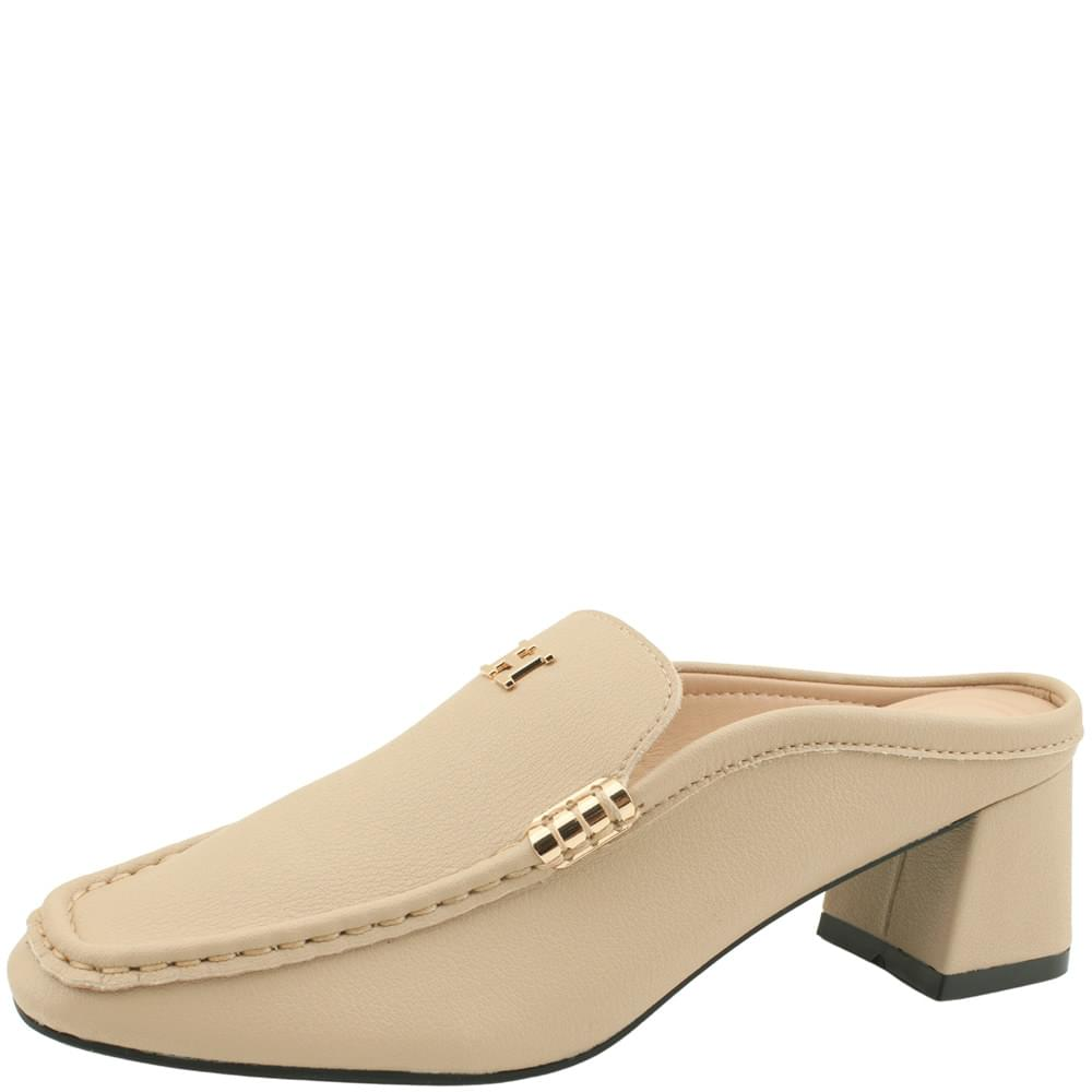 Cowhide Gold Plated Middle Heel Mule Blocker Beige