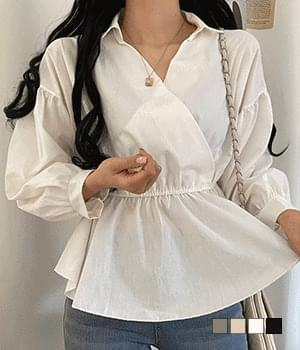 Slow collar flared blouse