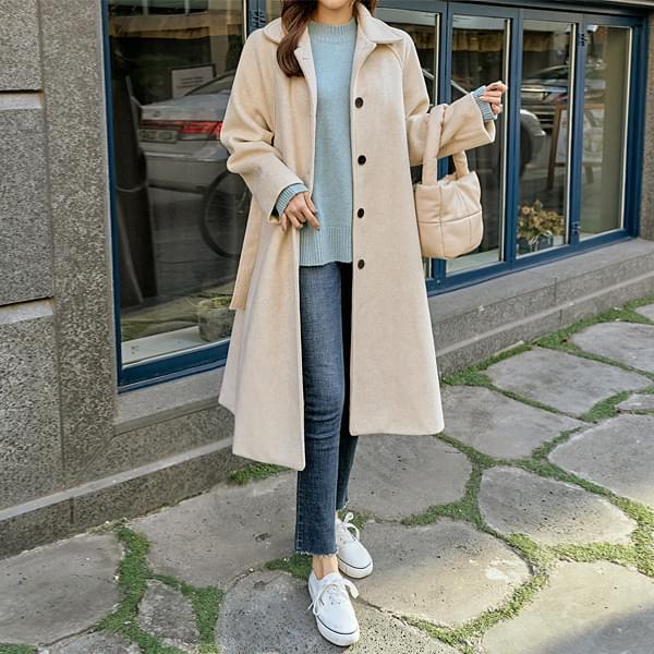 Alpha cowl single long coat #65928