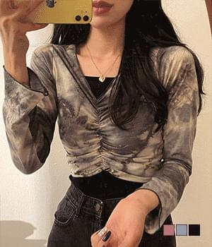Nico tie-dye water-print shirring T-shirt