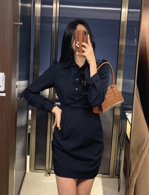 韓國空運 - Dona Puffshireing ops 及膝洋裝