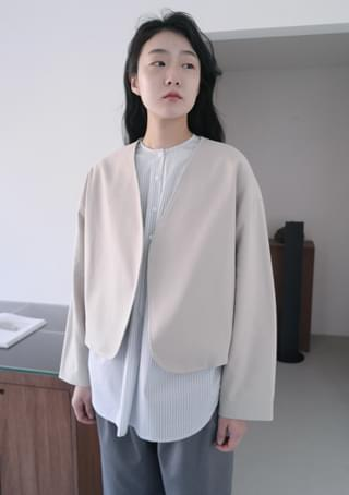 no collar rounded jacket (3colors)