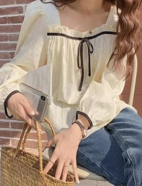 ★Plan ★Black ribbon frill BL♥Colored ribbon point:D 襯衫