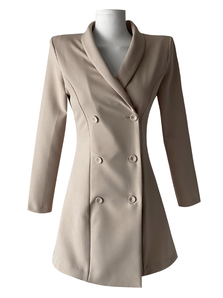 Thin double button shawl collar jacket Dress 3color