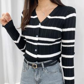 V Striped slim cardigan