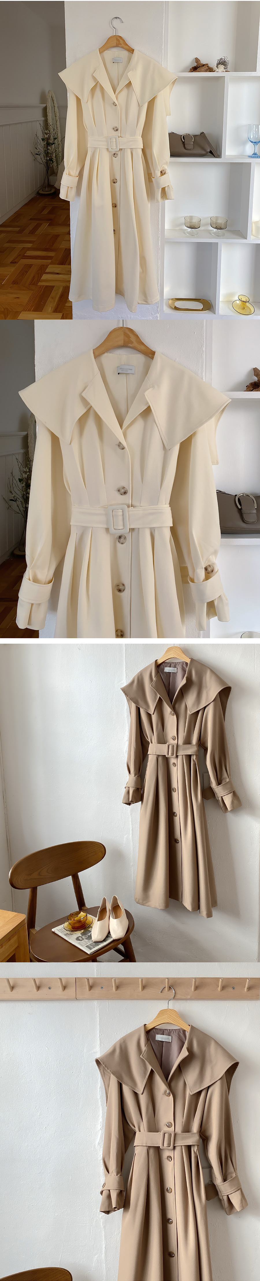 Roger Cape Trench Long Coat 2color