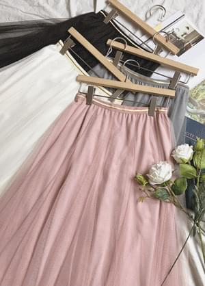 Chaby lace banding flared skirt