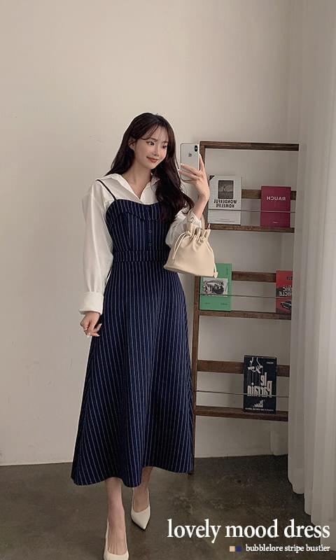 Bubble Lower Stripe Bustier Long Dress