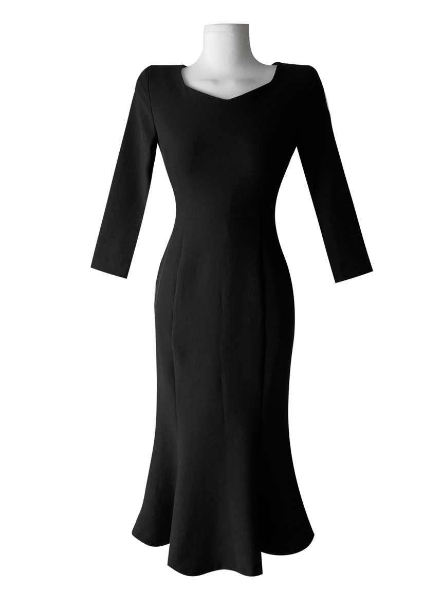 Ghanaian Clavicle Goddess Innocent Guest Look Mermaid Dress 3color