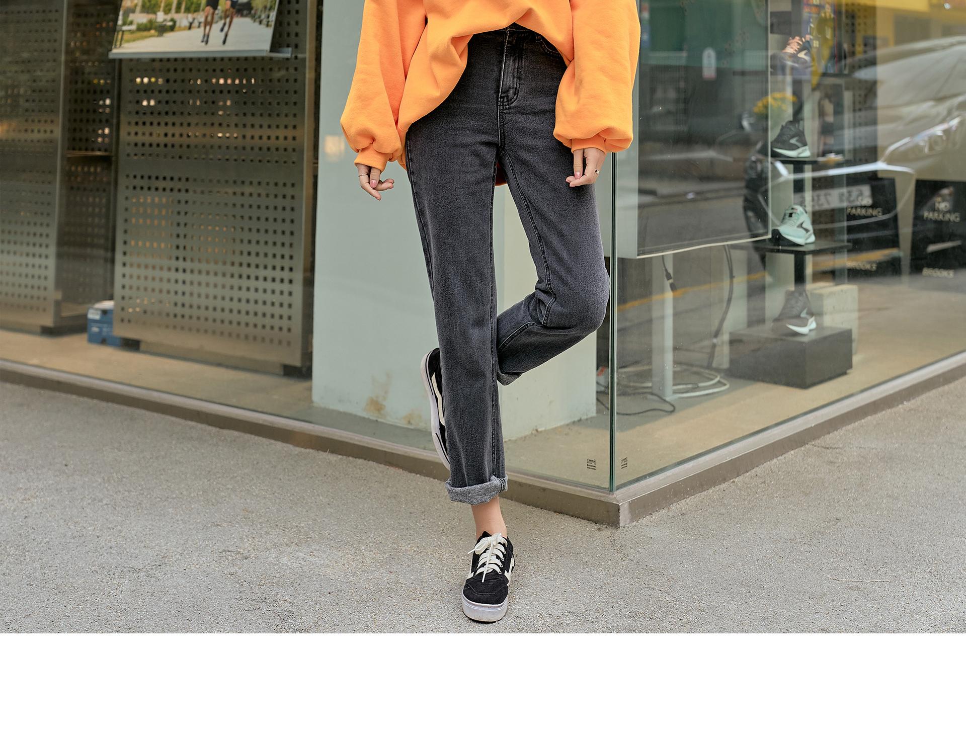 Straight Fleece-lined black jeans #76035