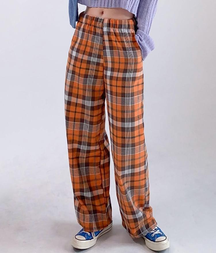 Wide-Leg Check Pants