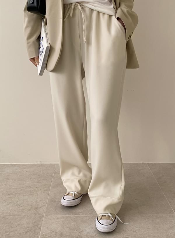Silky banding pants / cream
