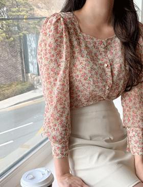 Maren Flower BL ♥ Pearl Button 襯衫