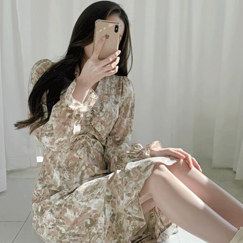 Marble Printed Shirring Long Dress T#YW737