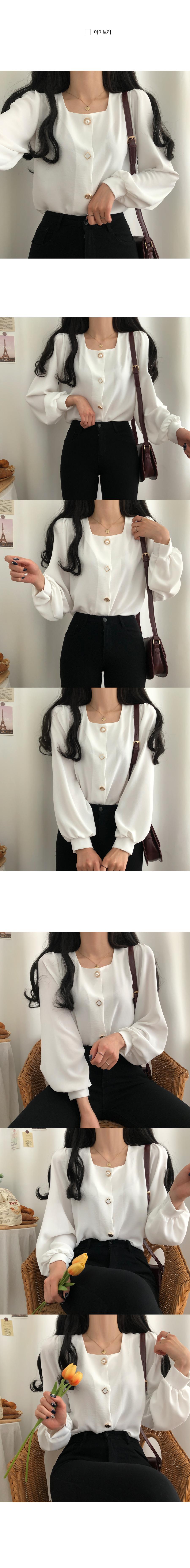 Marian Jeweled square-neck blouse