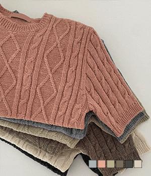 Antique Twisted Short Sleeve Round Neck Knitwear 針織衫