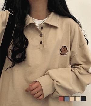 Hat bear embroidered collar T-shirt 長袖上衣