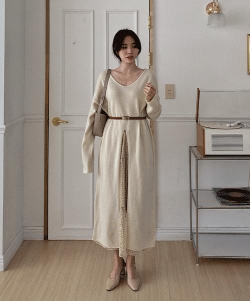 V Long Split Knitwear Dress -3color