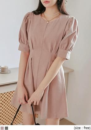 Pleat Accent Puff Sleeve Mini Dress