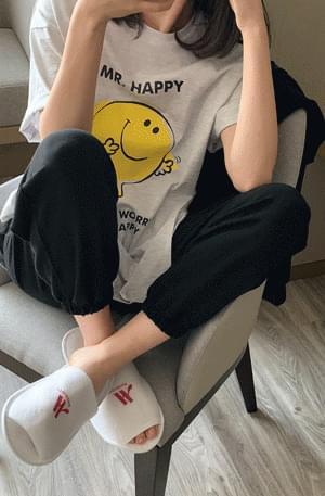 'HAPPY' Boxy-fit Printing Short Sleeve Tee
