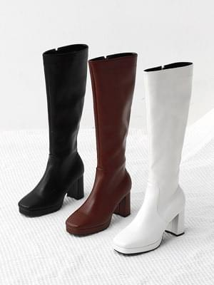 Square Gaboshi Middle Heel Zipper Long Boots 1906 ♡Second Sold Out♡