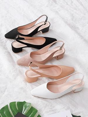Isshu Square Toe Slim V Cut Middle Heel Slingback Heel Sandals 5233 ♡21st sold out♡