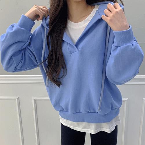V-Neck Split point jjuri hooded Sweatshirt T # YW747