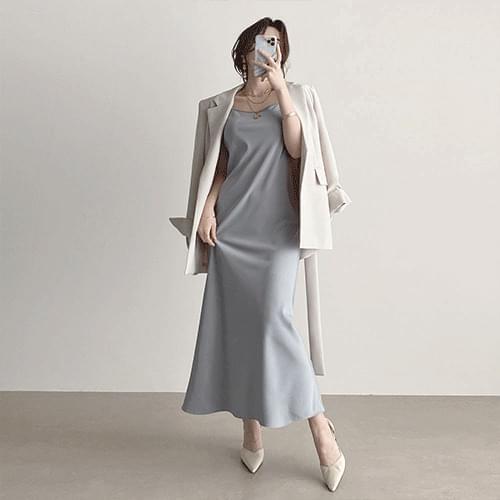 Kanadaran Silky Long Strap Sleeveless Slip Dress 2color