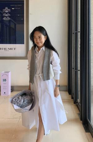 Yuru Belt Shirt Long Dress