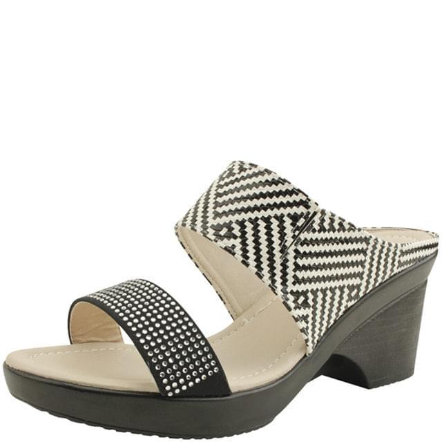 韓國空運 - Cubic Wedge High Heel Mule Slippers Herringbone 涼鞋