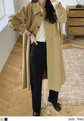 Point Collar Single-Breasted Trench Coat