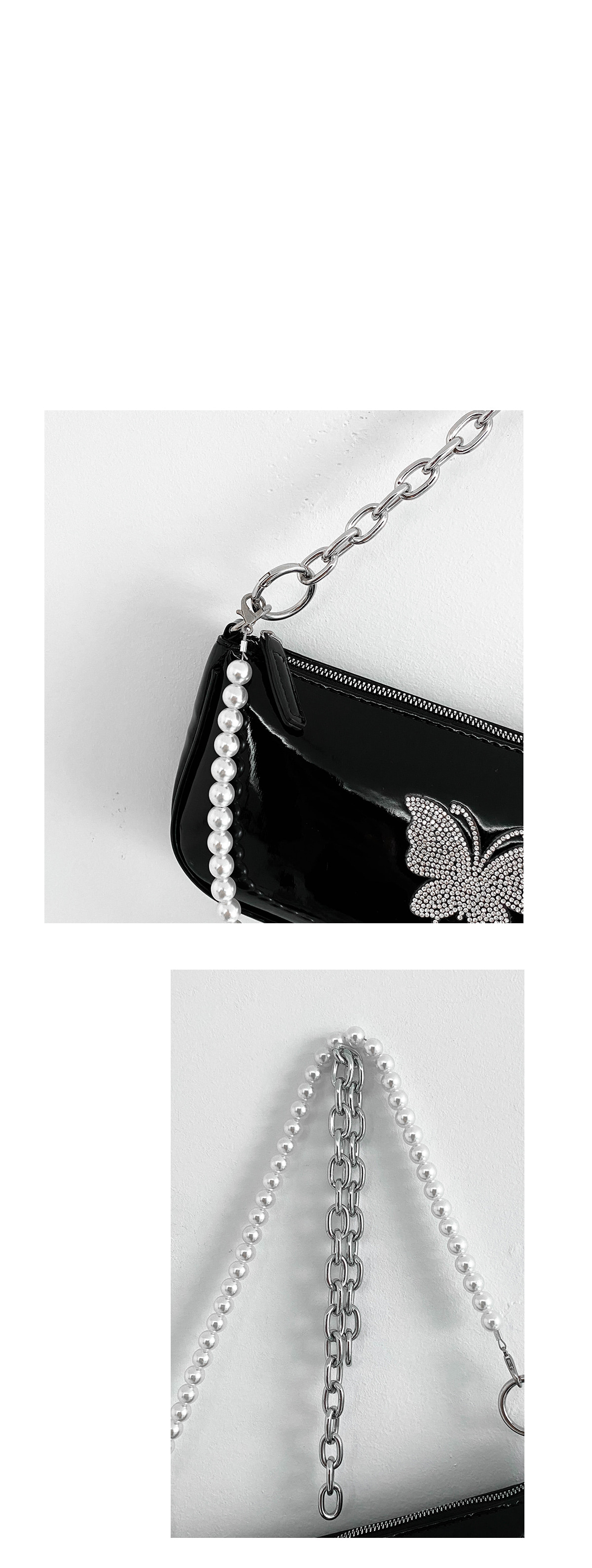 Butterfly pearl shoulder bag