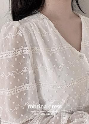 Robrina V-Neck lace back ribbon Dress