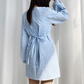 Vivid Check V-Neck Dress