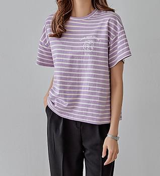 韓國空運 - Striped Bear Short Sleeve T-Shirt #108907 短袖上衣