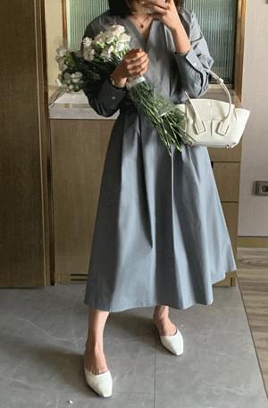 Velita front pintuck cotton Dress