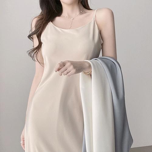 Kanadaran Daily Simple Strap Sleeveless Slip Dress 4color