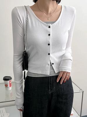 韓國空運 - ODA U-neck Ribbed crop cardigan 針織外套