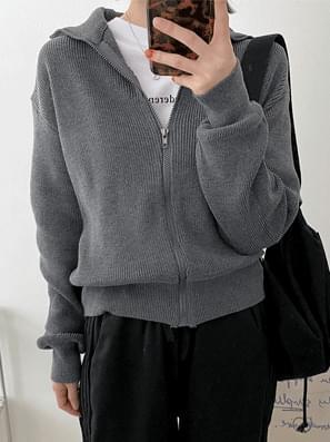 Half Neck Jersey Knitwear Zip-Up